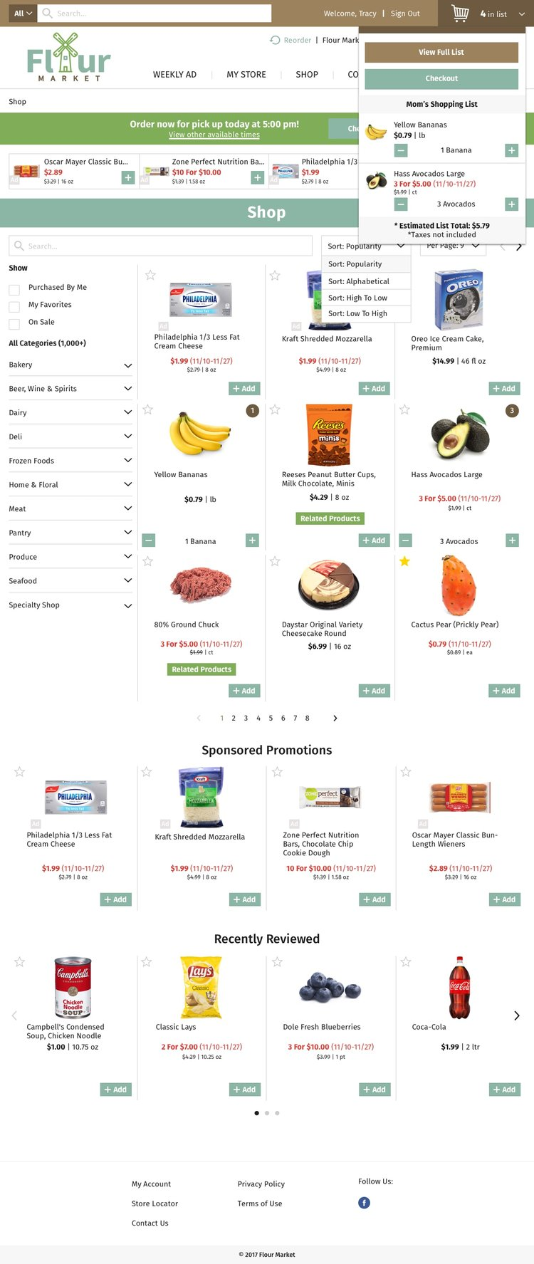 Freshop Themes: Flour Market Products