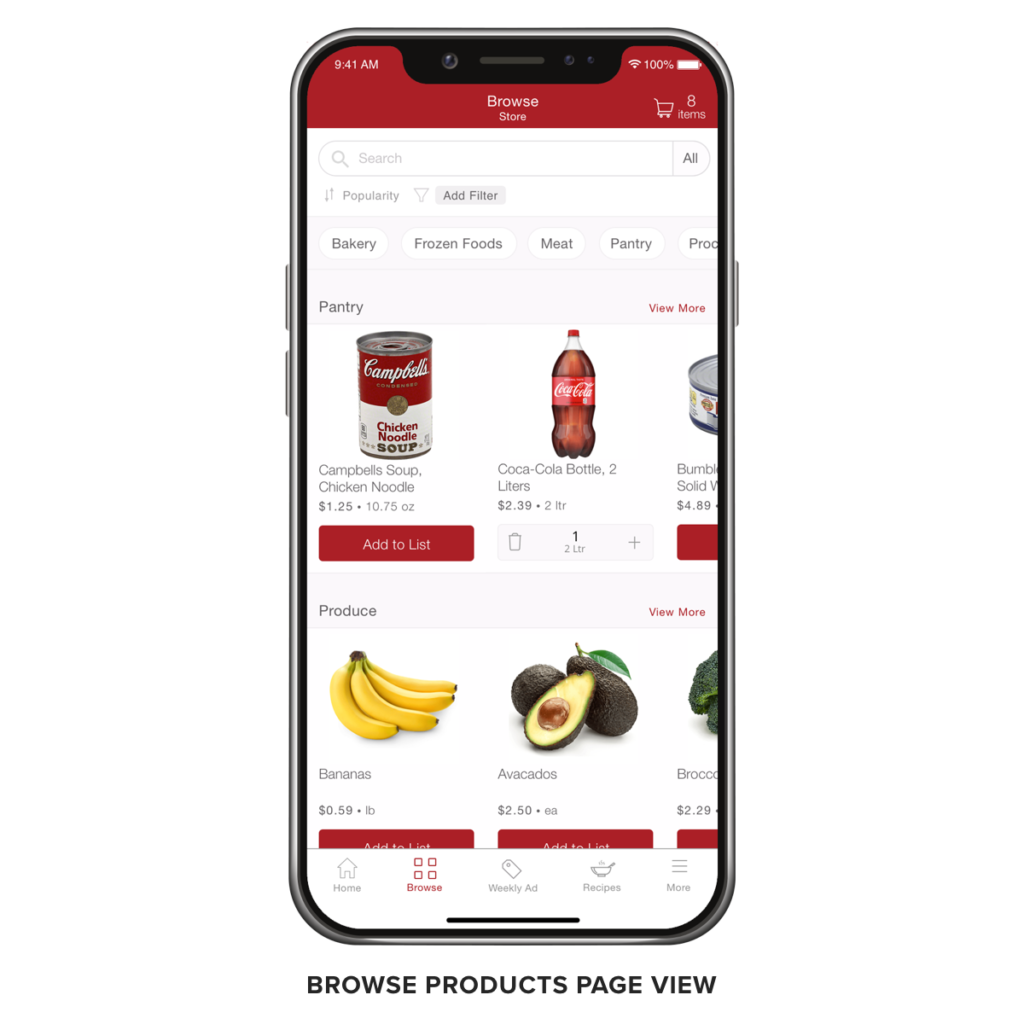 Freshop Express - App Browse Product Page